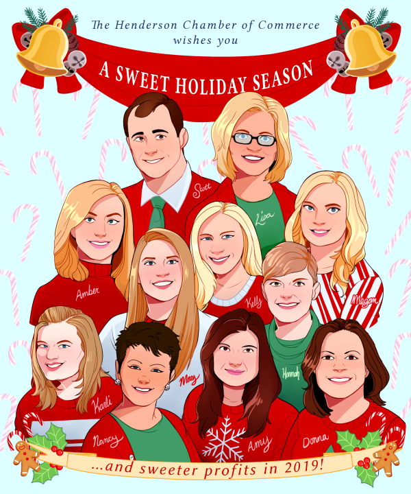 Illustration of the Henderson Chamber of Commerce team members for the holidays